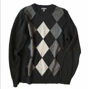 Gray Cashmere Argyle Apt.9 Sweater in Size M